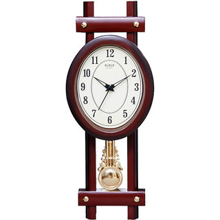 Pendulum Designer Oval Brown Wall Clock - Home House Office Decor Furnishings