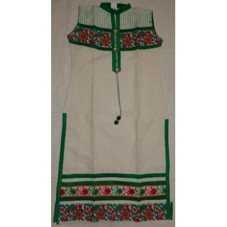 Rajasthani Cream and Green color cotton kurti with chicken and embroidery work