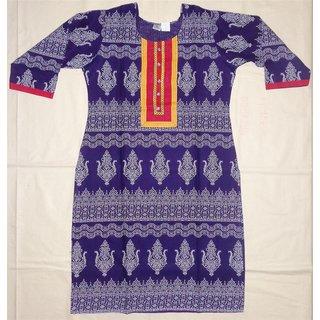 Rajasthani Digital Print Purple Cotton Kurti with strip work on Neck