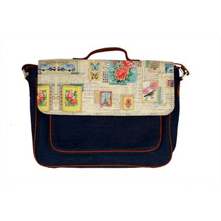 Shor Sharaba Denim Stamp Multicolor Magnit Button Satchel Bags