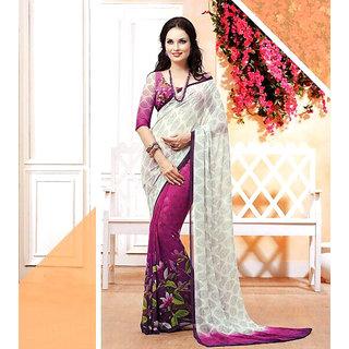 Vardhini Georgette Digital Print Saree (White and Pink)