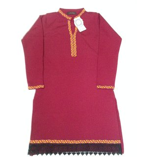 Ruby Red Pink Full Sleeves Winter Kurti