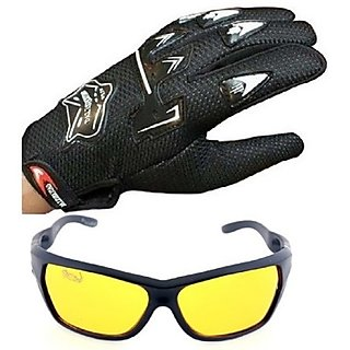 Combo of Kinghthood Black Gloves and Night Drive Yellow Glass
