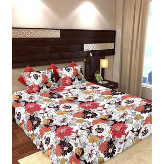 Story @ Home 144 TC 100 Cotton White 1 Double Bedsheet With 2 Pillow Cover