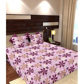 Story @ Home 144 TC 100 Cotton Pink 1 Double Bedsheet With 2 Pillow Cover