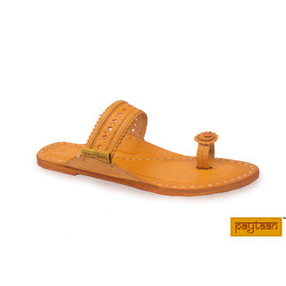 Punching Belt-(Thumb Strip) Yellow Leather Slippers  Flip Flops