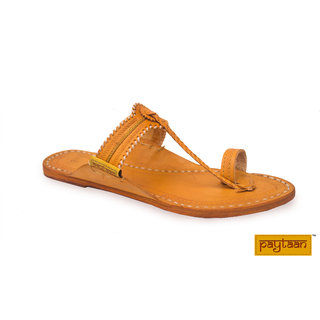 Design Belt-(White) Yellow Leather Slippers  Flip Flops