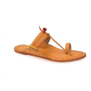 Kolhapuri-(Khas) Yellow Leather Slippers  Flip Flops