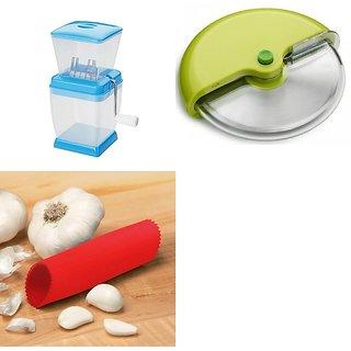 SHRI KRISHNA COMBO OF ONION CUTTER, PIZZA CUTTER AND GARLIC PEELER