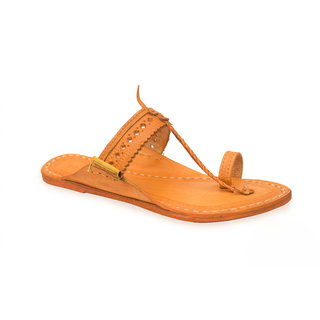 Design Belt-(Punching) Yellow Leather Slippers  Flip Flops