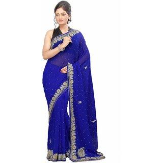 Triveni Blue Chiffon Lace Saree With Blouse
