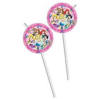 Princess  Animals-Medallion Flexi Drinking Straws