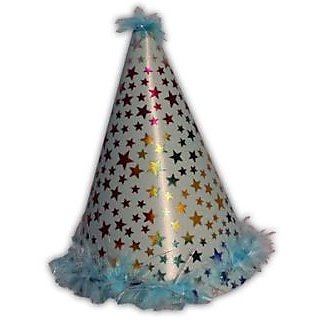 Star Feather Plastic Hat-Blue