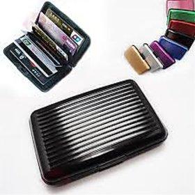 Aluma Aluminium Atm Cash Credit Card Holder Unisex Wallet Purse - BLACK COLOR