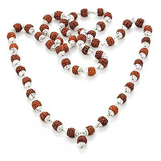 Brown Panch mukhi 54+1 breads rudraksha mala For Unisex