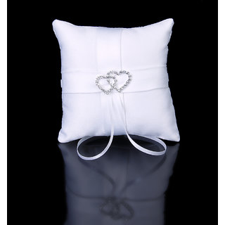 White Double Heart Diamante Wedding Party Pocket Ring Pillow Cushion
