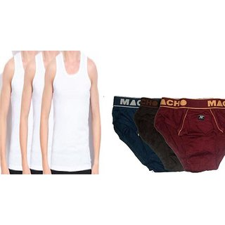 Amul Macho 3 vest 3 Brief Combo