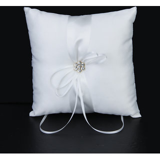 Ivory Satin Diamante Flower Wedding Party Ring Pillow Cushion
