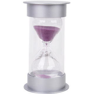 15 Minutes Hourglass Sandglass Sand Timer Home Decor Silver Lid Purple Sand