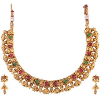 1 gram gold plated temple design Women Necklace Set Jewelry 5057