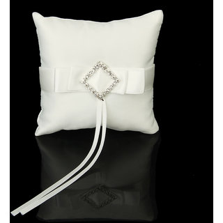 Ivory Satin Crystal Diamante Wedding Party Pocket Ring Pillow Cushion