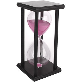 60 Min Wooden Sand Clock Sandglass Hourglass Timer for Gift/Decoration Pink