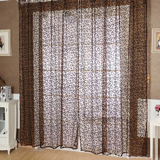 Flocking Sheer Curtain Panel Window Balcony Tulle Divider Coffee 100280cm