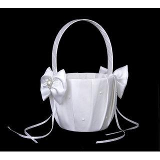 Ivory Satin Bowknot Wedding Flower Girl Basket Faux Pearl Rhinestone Decor