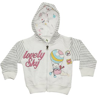 Cucumber Full Sleeves Lovely Sky Print Baby Hooded Jacket-Grey, 9-12, 12-18  18-24 Months