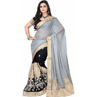 355064c7fe Buy Triveni Black Georgette Plain Saree With Blouse Online - Get 25% Off