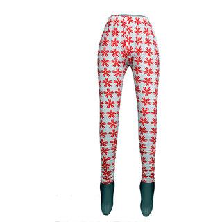 Women red flower print legging
