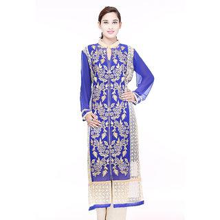 Designer blue  faux georgette and beige net kurti