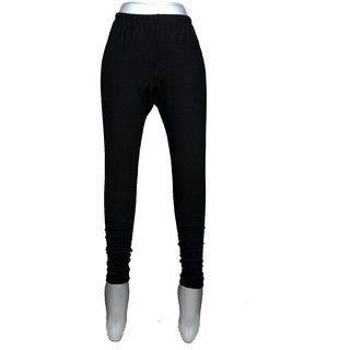 Women black plain woolen legging