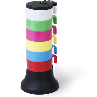 6Pcs Portable Rainbow Colors Cups Mugs with Holder Stand
