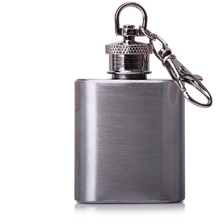 1oz Portable Stainless Steel Hip Flask Key Chain Silver