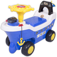 Ez Playmates Pirate Ship Fun Ride On Blue