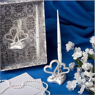 Crystal Diamante Heart Signature Pen Wedding Guest Register Pen Set