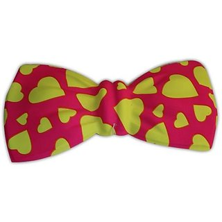 Neon Pink Heart Print Bow