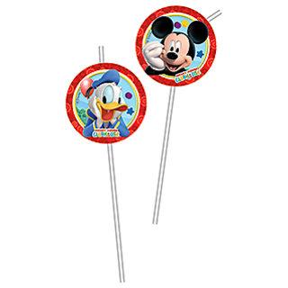 Playful Mickey Medallion Flexi Drinking Straws