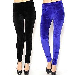 Combo - Black n Blue Velvet Legging