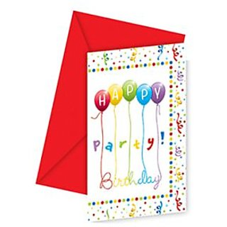 Happy Birthday Streamers Invitations  Envelopes