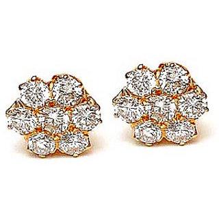 Cz Stone Flower Earrings