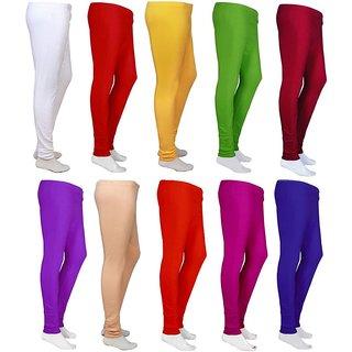 Cotton Lycra Multicolor Leggings - Pack of 10