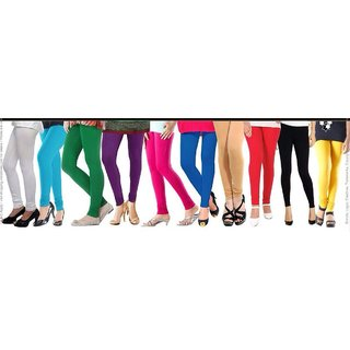 Rm hub's combo Of 10 Lyca Cotton Multicolor Freesize Leggings