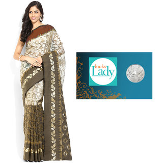 Lookslady Blue Linen Self Design Saree With Blouse