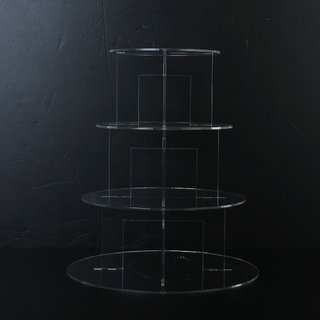 4 Tier Clear Hard Acrylic Round Cupcake Stand Wedding Party Display