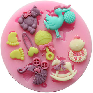 Silicone Mold Mould With 9 Patterns For Polymer Clay Candy Fondant Cake Decorating - Random Color