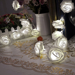 20-LED 86.6inch Battery Operated Christmas Wedding Rose Flower Shape String Lamp Fairy Lights - White