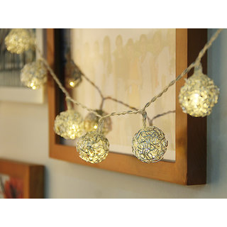 10-LED 47inch Battery Operated Christmas Wedding Silvery Metal Balls String Lamp Fairy Lights - Warm white