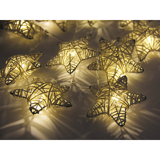 10-LED 47inch Battery Operated Christmas Wedding Metal Pentagram Star Shape String Lamp Fairy Lights with Rattan Entanglement - Warm white